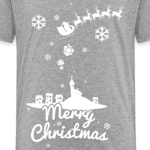 Merry Christmas with village and reindeers, white Shirts - Kids' Premium T-Shirt