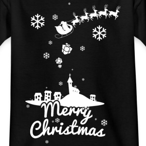Merry Christmas with village and reindeers, white Shirts - Teenage T-shirt