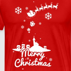 Merry Christmas with village and reindeers, white T-Shirts - Men's Premium T-Shirt