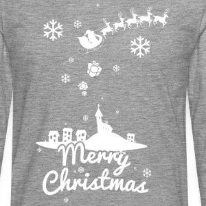 Merry Christmas with village and reindeers, white Manches longues - T-shirt manches longues Premium Homme