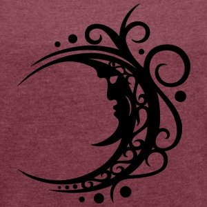 Großer Mond mit Tribal, moon, luna T-Shirts - Women's T-shirt with rolled up sleeves