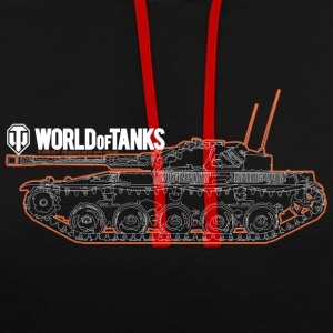 World of Tanks Orange Outline Men Hoodie - Contrast Colour Hoodie