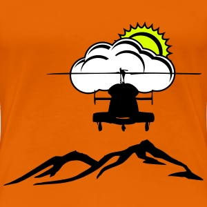 Helicopter with mountains - Women's Premium T-Shirt