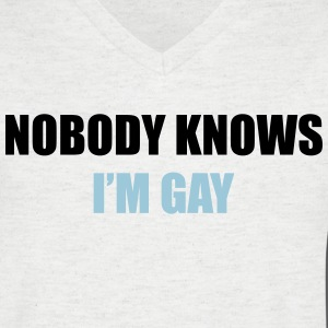 Nobody Knows I'm Gay T-skjorter - T-skjorte med V-utsnitt for menn