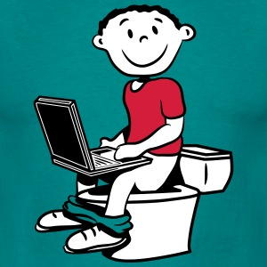 wc little boy sitting laptop T-Shirts - Men's T-Shirt