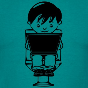 sitting wc little boy laptop T-Shirts - Men's T-Shirt