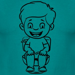 wc loo little boy sitting joy T-Shirts - Men's T-Shirt