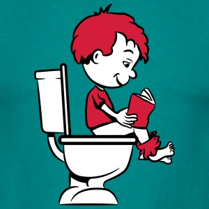 loo sitting wc little boy reading T-Shirts - Men's T-Shirt