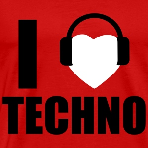 I LOVE TECHNO 1 T-shirts - Mannen Premium T-shirt