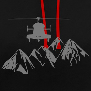 Helicopter over mountains - Contrast Colour Hoodie