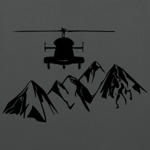 Helicopter over mountains - Tote Bag