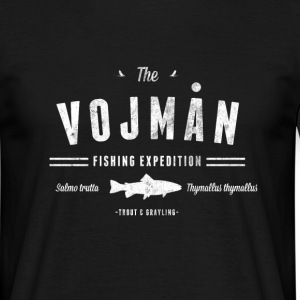 Vojmån fishing white on black - T-shirt herr