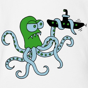 Octopus struggles with submarine, octopus, squid Baby Bodysuits - Organic Short-sleeved Baby Bodysuit