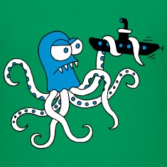 Octopus struggles with submarine, octopus, squid Shirts