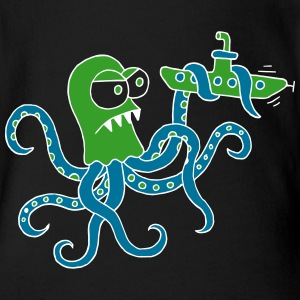 octopus fights submarine, giant, ocean, squid Baby Bodysuits - Organic Short-sleeved Baby Bodysuit