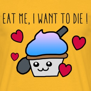 Caupcake Eat me I want to die - Herre-T-shirt