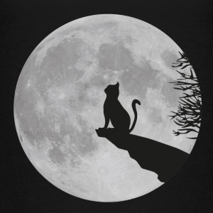 Katze Mond Vollmond cat kitty Stubentiger Felsen T-Shirts - Teenager Premium T-Shirt