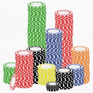 poker chips T-shirts - Mannen T-shirt met V-hals