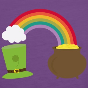 Rainbow gold and leprechaun Hat Tops - Women's Premium Tank Top