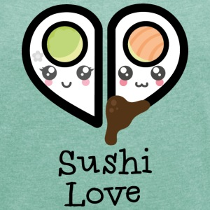 Heather mint Sushi love T-Shirts - Women's T-shirt with rolled up sleeves