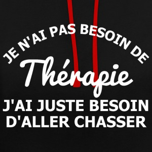 Chasser est ma thérapie Sweat-shirts - Sweat-shirt contraste