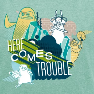 Penguins of Madagascar Here comes trouble Women T- - Women's T-shirt with rolled up sleeves