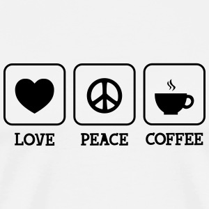 Love, Peace, Coffee T-shirts - Herre premium T-shirt