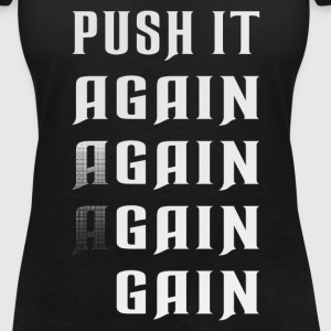 Push it again gain white T-Shirts - Frauen T-Shirt mit V-Ausschnitt