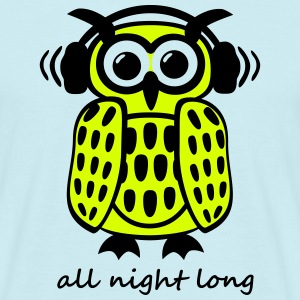 coole Eule Kopfhörer Owl Headphones all night long T-Shirts - Männer T-Shirt