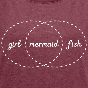 Girl - Mermaid - Fish (Intersection) T-shirts - Dame T-shirt med rulleærmer