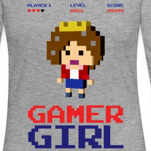 8-bit gaming girl gamer arcade boss Long Sleeve Shirts - Women's Premium Longsleeve Shirt