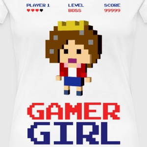 8-bit gaming girl gamer arcade boss T-Shirts - Women's Premium T-Shirt