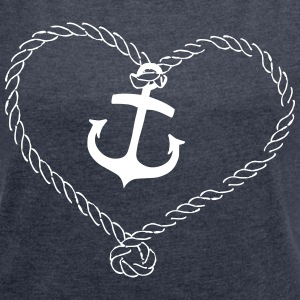 Anchor Shirt with heart of rope T-Shirts - Women's T-shirt with rolled up sleeves