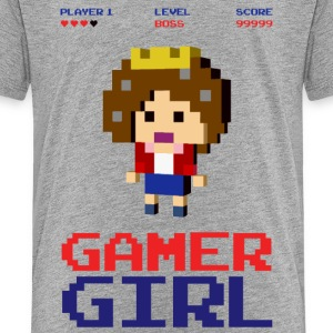 8-bit gaming girl gamer arcade boss T-Shirts - Kinder Premium T-Shirt
