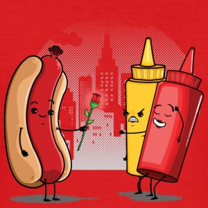 Röd Hotdog Love T-shirts - Slim Fit T-shirt herr