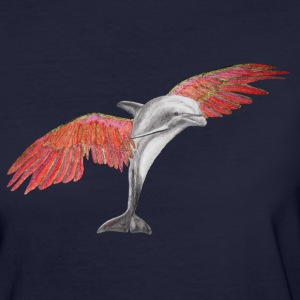 Fliegender Delfin / Flying Dolphin rot/red T-Shirts - Frauen Bio-T-Shirt