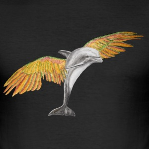 Fliegender Delfin / Flying Dolphin orange T-Shirts - Männer Slim Fit T-Shirt