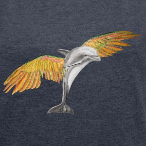Fliegender Delfin / Flying Dolphin orange T-Shirts - Frauen T-Shirt mit gerollten Ärmeln