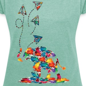 Elephant and paper planes Women's T-shirt with r - Women's T-shirt with rolled up sleeves