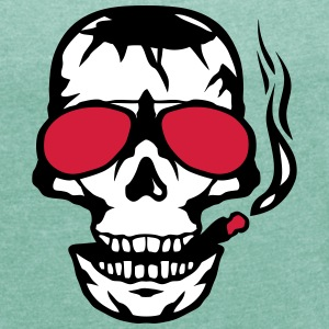 Skull sun cigar smoker glasses T-Shirts - Women's T-shirt with rolled up sleeves
