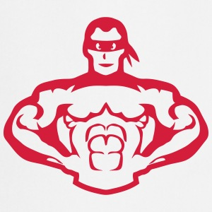 Bodybuilder mask muscular hero 5  Aprons - Cooking Apron
