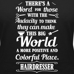 Big colorful world with hairdresser Camisetas - Camiseta con escote en pico mujer