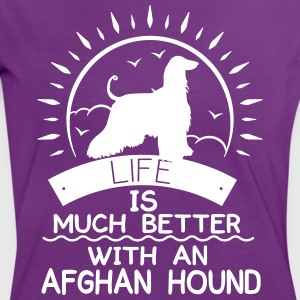 Life ist better - Afghan Hound Camisetas - Camiseta contraste mujer