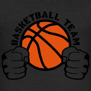 Basketball team fist closed hit logo T-Shirts - Men's Slim Fit T-Shirt