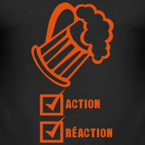 Action reaction beer alcohol humor T-Shirts - Men's Slim Fit T-Shirt