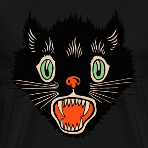 Vintage Halloween Scared Black Cat T-Shirts - Men's Premium T-Shirt