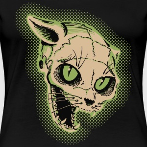 Vintage Cat Skull Illustration T-Shirts - Women's Premium T-Shirt