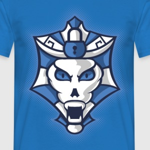 Halloween Blue and White Monster Shield T-Shirts - Men's T-Shirt