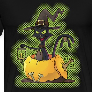 Halloween Black Witch Cat in Pumpkin T-Shirts - Men's Premium T-Shirt