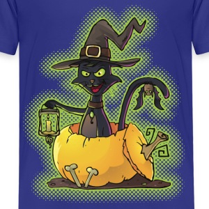 Halloween Black Witch Cat in Pumpkin Shirts - Kids' Premium T-Shirt